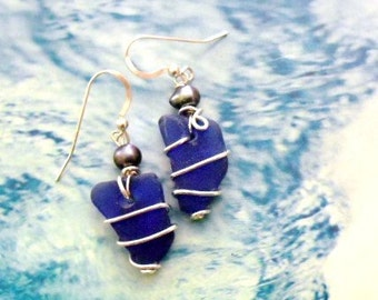 Genuine Cobalt  Blue Sea Glass and Pearls Wrapped- Earrings - Small
