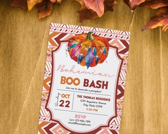 Boo Bash Pumpkin Decorating Invitation.  Halloween Invitation. Personalized - Digital / Printable File