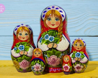 Matryoshka, Mothers day gift idea, Russian nesting dolls, Gift for woman, Handpainted babushka, Handmade wooden stacking dolls