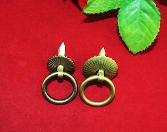 "5 Round Ring Knob Pulls - Short Needle Feet Aged Bronze Gift Jewelry Box Single Hole Handle - Two Style 0.9""/1.18""(23mm/30mm) - k93"