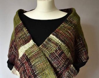 Shrug / shawl with pockets - merino/silk - handwoven - green