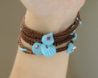 Brown luck bracelet turquoise cameo charms evil eye talisman protect for fashion and good energies BY RedBracelet on ETSY