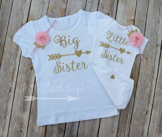 Big Sister Shirt Little Sister bodysuit & Headband Matching
