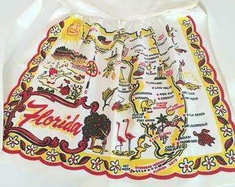 Vintage Florida apron 1950s souvenir Silver Springs orange blossoms flamingos map Floridiana kitsch