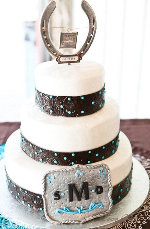 Horseshoe Western Wedding Cake topper personalized ranch