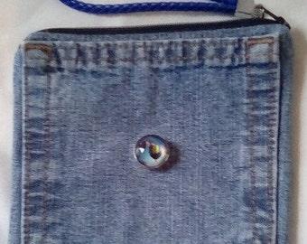 Denim wrist purse