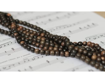 Set of 20 beads ebony wood - 5 / 6mm