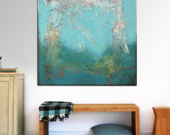 """Original Abstract Painting - Ready to Hang -Square Canvas 35.4""""- Contemporary Art -Rich Blue Tones, Textured Art - Wall Decor -Ronald Hunter"""
