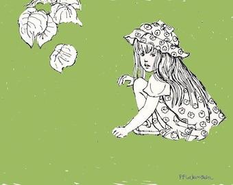 INSTANT PRINTABLE Nursery Art, Childs Room Decor,Nursery Decor, Instant Download, Little Girl,Pen Drawing,Green,DIY,Print of my original art