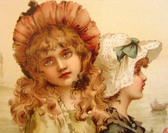 1880 Raphael Tuck book with 16 stunning chromolithograph color plates-Maude Goodman,Golden Days & Silver Eves