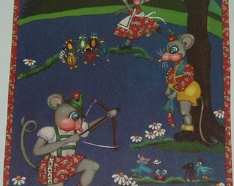 Adorable Vintage Print-Anthropomorphic Woodland Animals Play-Primary Colors Nursery Decor