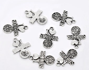 "10 Pieces Antique Silver ""I Love Soccer"" Charms"