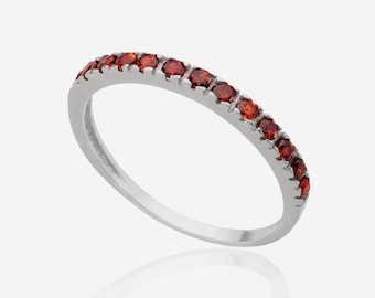Silver Stackable ring gemstone ring garnet ring stackable mothers rings birthstone ring for women silver mom jewelry delicate ring