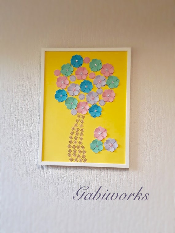 3D Colorful Flowers Tree painting Wall ART Fantasy Art