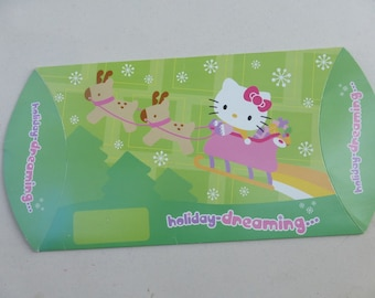 Hello Kitty Gift Box Pillow Case Green Pink Sanrio Kawaii Cat Christmas Sleigh Dogs Holiday Dreaming Snowflakes Cardboard Easter Pastel