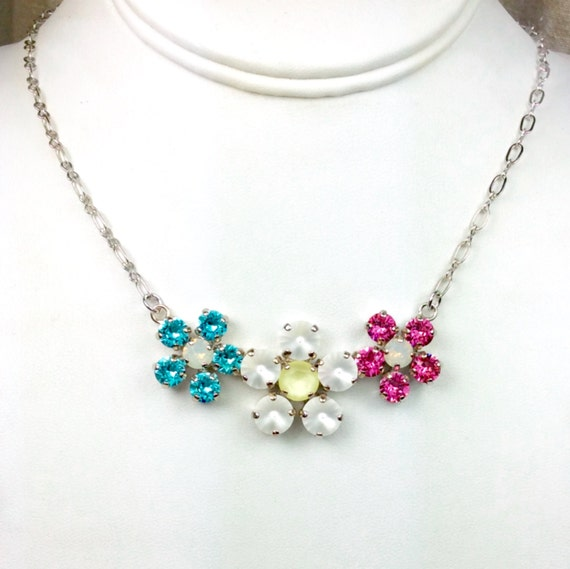 Swarovski Crystal Necklace - 8.5mm, 6mm - Lt. Turquoise, Moon Glow, and Rose - Three Flower Pendant - Sparkle & Shimmer - FREE SHIPPING