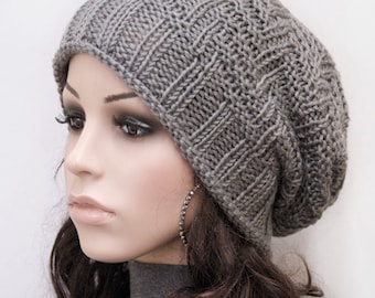 Hand knit hat Charcoal Chunky Wool Hat wool hat - ready to ship