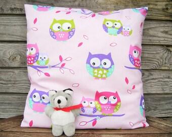 Pillow Cover, Throw Pillow 16x16 inch, Decorative Pillow, 100% Pure cotton, Linen Home Decor Linen Cushion Colorful Pillow Owl Pillow