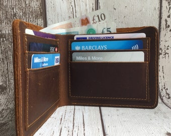 Personalized Leather Wallet Mens Wallet 3rd anniversary gift for Men Leather Anniversary Personalized Gift for Him Billfold Mens Gift Dad