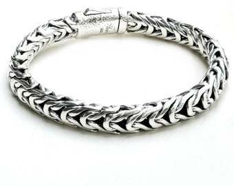 Men Sterling Silver Link Bracelet, 925 Handwoven Bracelet, Thick Solid Link Bracelet for Men, Silver Braided Bracelet