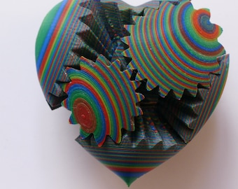 3D Printed Gear Heart in multicolour