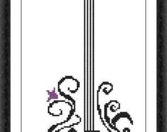 Guitar 2 Modern Cross Stitch Pattern PDF Chart Black Silhouette Pattern