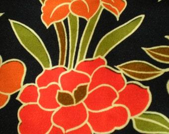 Vintage Japanese wool kimono fabric 92 cm x 36 cm flowers, blossoms floral