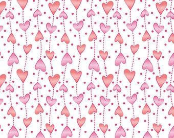 Hearts on a String - Per Yd - Contempo by Benartex - by Cherry Guidry - Pink and Red Hearts - My Little Sunshine