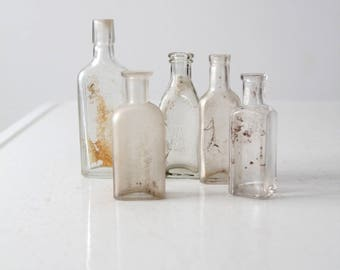antique apothecary bottle collection, clear glass bottles 5 pc