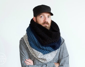 The Ombré Cowl | INDIGO | Mens Chunky Knit Ombré Oversized Huge Textured Winter Cowl Scarf