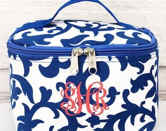 Royal Blue Damask Cosmetic Case