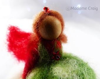 Miniature Flower Fairy - Needle Felted on Treasure Box -  Toothfairy box - Christmas Stockings Fillers - Waldorf style
