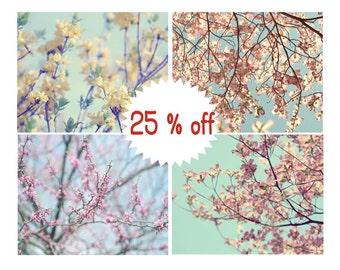 Spring tree branch art, floral photography prints, botanical wall art set of 4 prints 12x12, yellow mint pink nursery, pastel bedroom decor