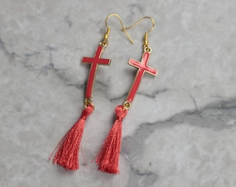 Salmon Short Simple Tassel Earrings with Cross