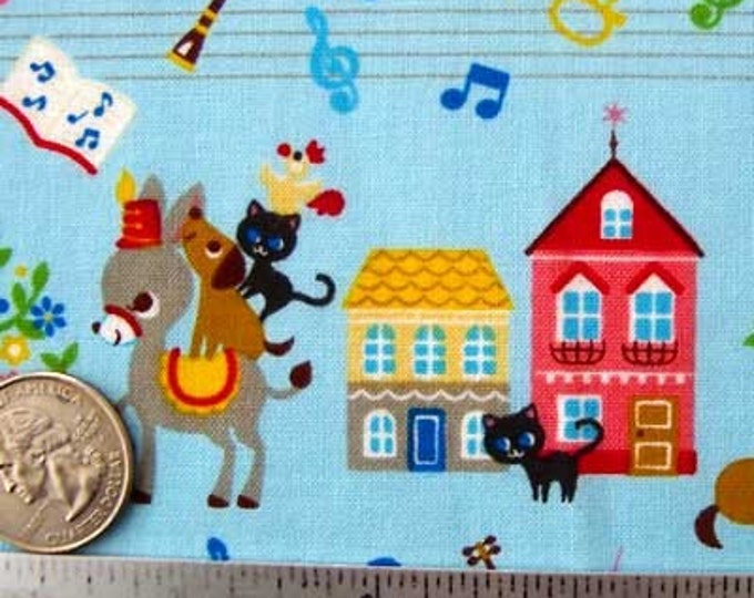 "Japanese ANIMAL PARADE BLUE Cotton Quilt Quilt Fabric - Fq Fat Quarter 18"" x 21"" - Rare & Out of Print"
