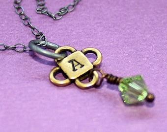 Cute Initial Necklace - Handstamped Jewelry - Swarovski Birthstone - Custom Initial Pendant
