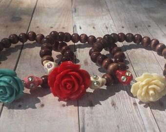 Día de los Muertos | Day of the Dead | Rhinestone Skull Dark Brown Wooden Bead Stretch Bracelet