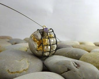 "Pendant Necklace with concrete contemporary jewelry ""hidden treasures...""."