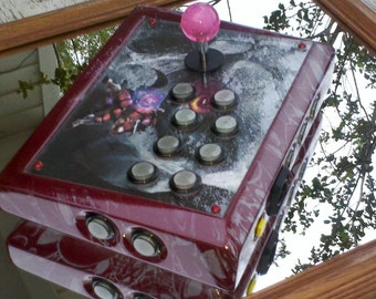 """Custom Arcade Stick - """"Painted Warrior"""" M.Bison with Custom Painted Skull Frame"""