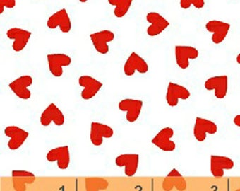 Windham Basic Brights - Hearts in Red on White - American Bright Basics Cotton Quilt Fabric Heart - Windham Fabrics - 31640-20 (W4164)