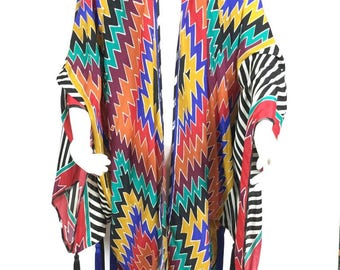 Adele Simpson Kimono Style Long Jacket. 1980's.