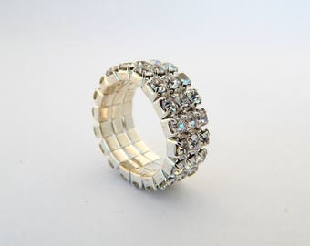 Vintage Rhinestone Ring, Clear Crystal Wide Stretch Ring Adjustable Size, Sparkling Statement Ring, Estate Jewelry