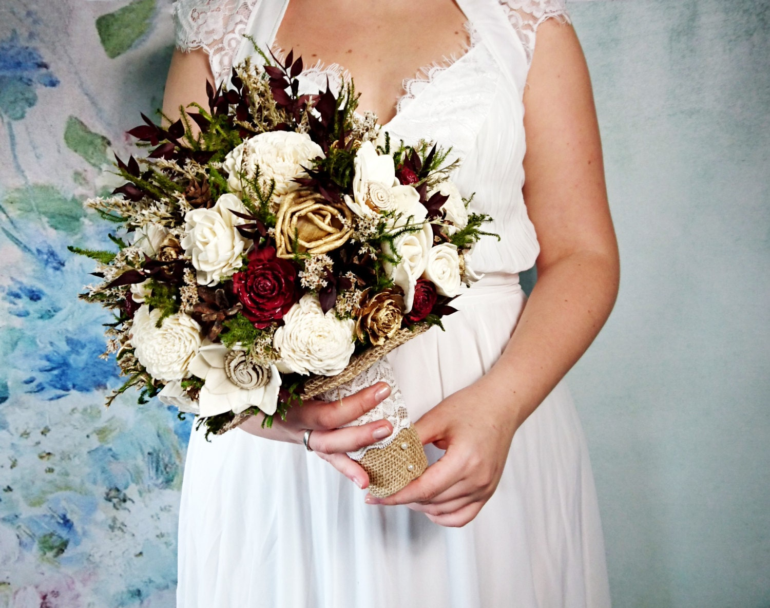 Ivory burgundy wine green gold brown rustic wedding bouquet zoom izmirmasajfo