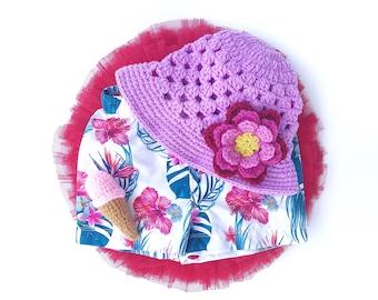 Purple Bucket Hat, Crochet Hat