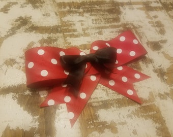 Barrette Red, Black and White Bow