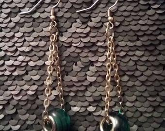 Green Beaded Chain Earrings
