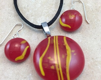 ON SALE Necklace & Earring Set, Fused Glass Jewelry, Red and Yellow Glass Jewelry, Sterling Earrings - HEA589
