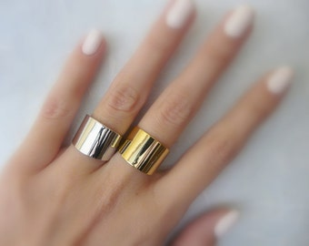 Gold ring, Tube ring, Statement ring, Cuff ring, Wide band ring, Adjustable ring, Silver ring, Gold ring, Fashion accessories
