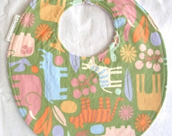 2D Zoo in Sage - Boutique Bib - terry cloth backing