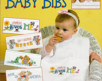 Cross Stitch Charts 'Cute 'n' Quick Baby Bibs' Leisure Arts Leaflet 3447, Cross Stitch Designs by Linda Gillum, Full Color Charts